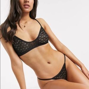 Free people Kelly lingerie lace set black NWT S